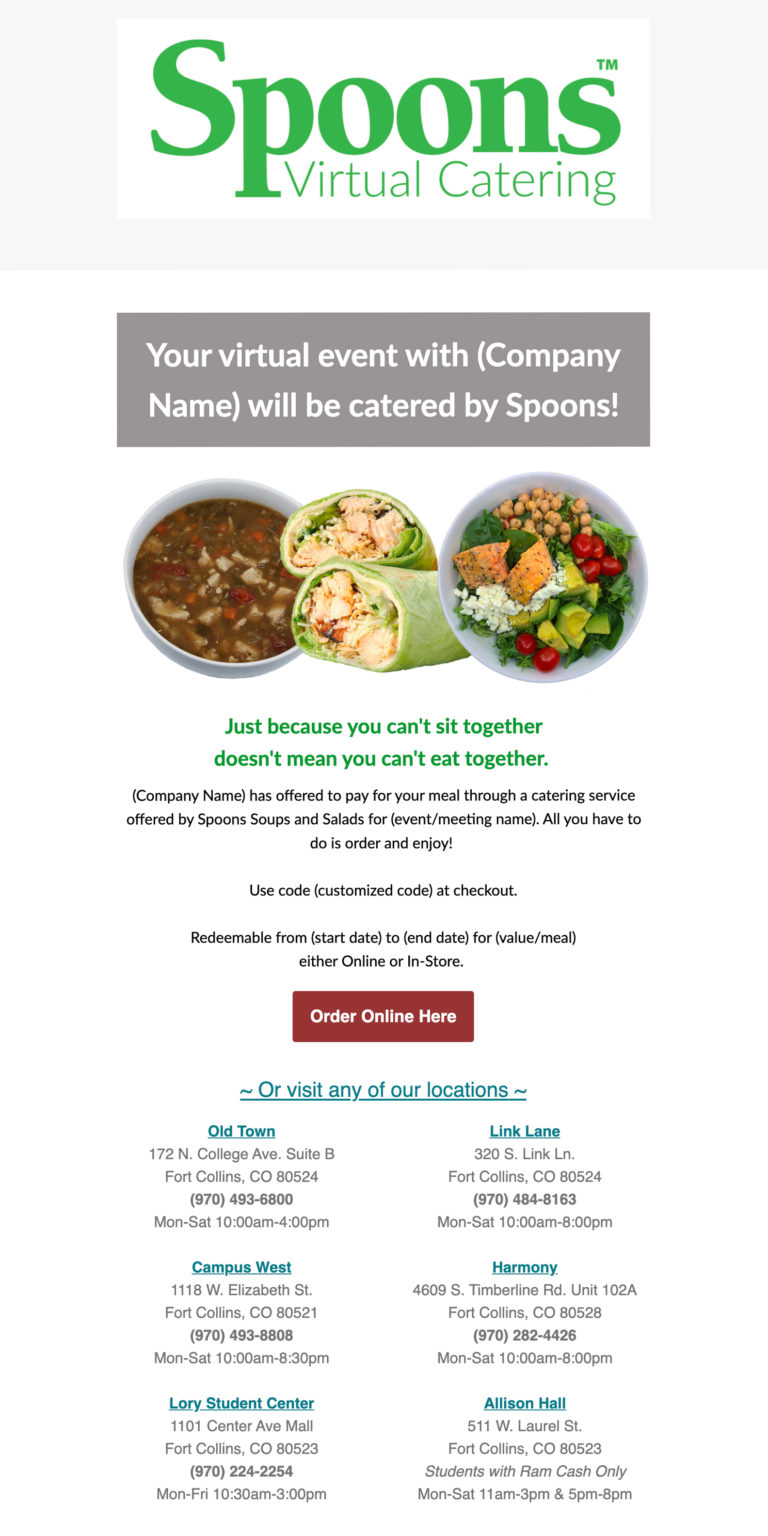 Sample Virtual Catering Email